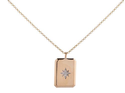 14k Rectangular Diamond Pendant By Sophia By Design