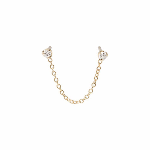 14k Prong Diamond Chain Double Stud Earring by Zoe Chicco