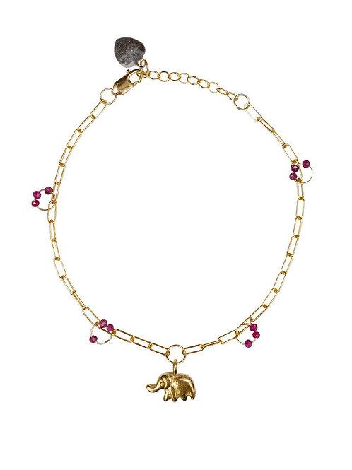 Ila Bracelet with Elephant & Ruby by Lulu Designs