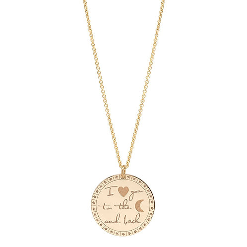 "14k Large ""I love you to the moon and back"" Mantra Necklace by Zoe Chicco"
