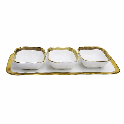 Relish Dish with 3 Square Bowls with Gold Trim