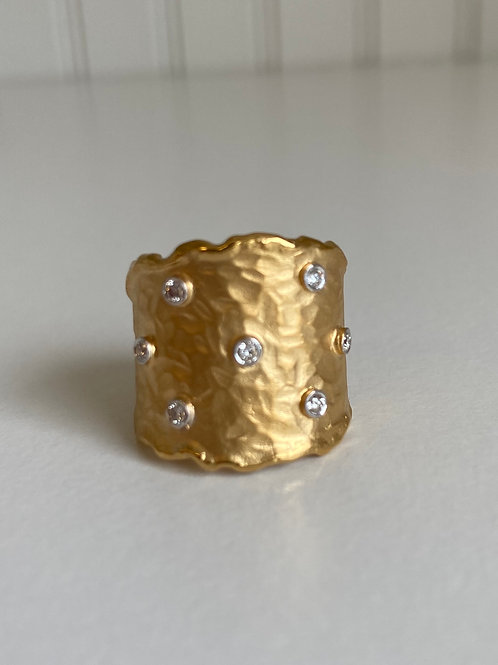 14k Yellow Gold & Diamond Hammered Ring
