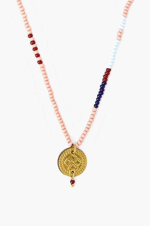 Coral Beaded Gold Coin Necklace by Chan Luu