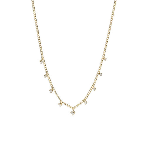 Extra Small Curb Chain Necklace with 9 Prong Diamonds by Zoe Chicco