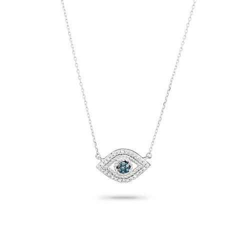 Tiny Pave Evil Eye Necklace in Sterling Silver by Adina Reyter