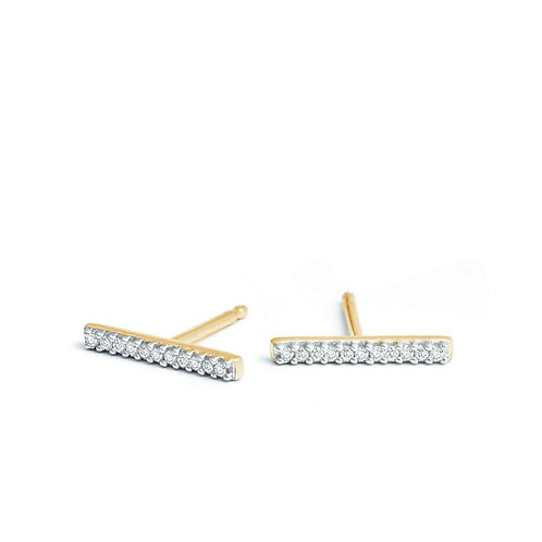 Yellow Gold Pave' Bar Posts by Adina Reyter