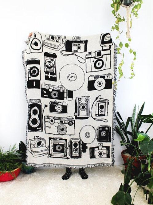 Vintage Cameras Black & White Reversible Throw Blanket