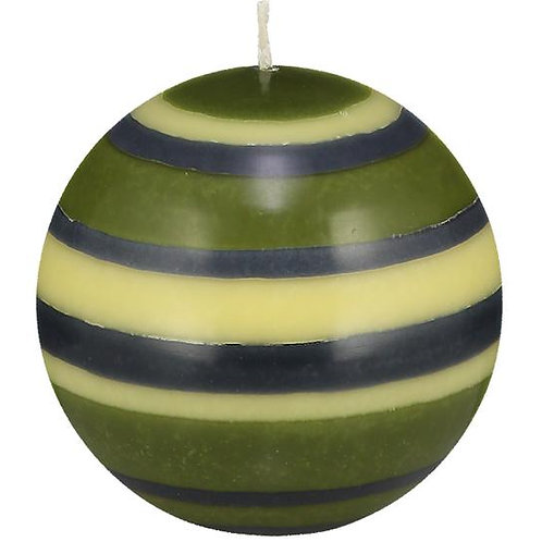 Large Striped Ball Candle in Olive, Indigo & Jasmine