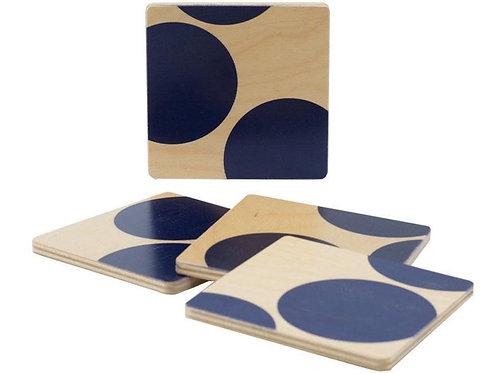 Navy Dot Coasters, Set of Four