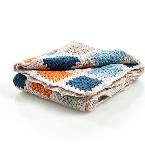 Multi-colored Granny Square Baby Blanket