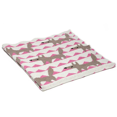 Eco Pink Baby Fox Throw Blanket by In2green