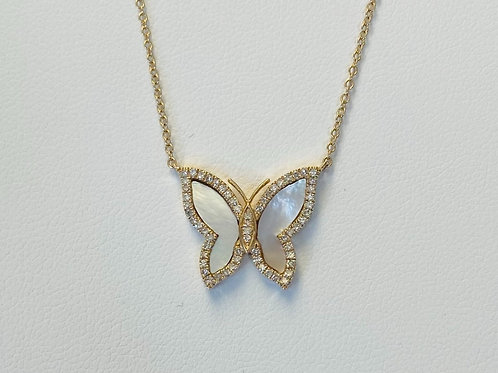 Diamond Mother of Pearl Butterfly Pendant by Mewar
