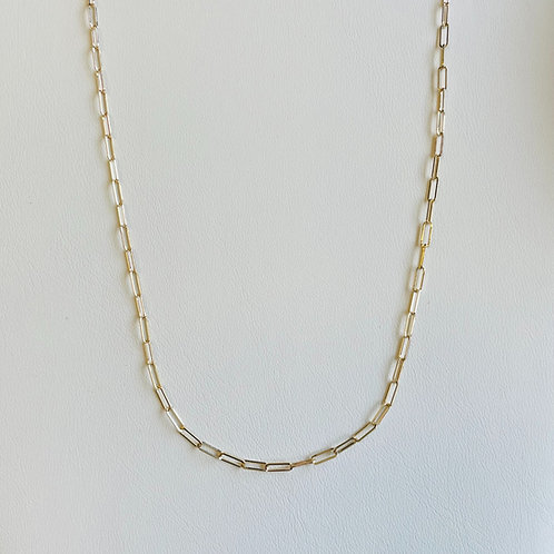 """16"""" 14KT Yellow Gold Paperclip Link Chain"""