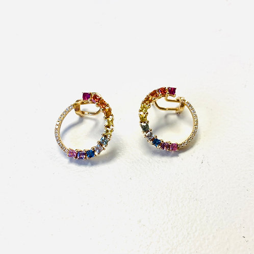 14k Diamond Sapphire Earrings By Sophia By Design