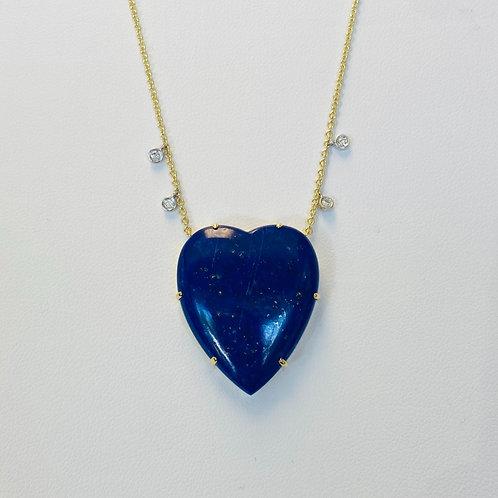 Lapis Lazuli Diamond Heart Necklace by Miera T