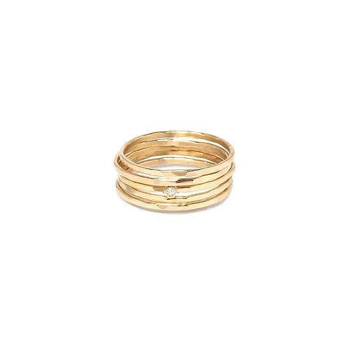 14k Hammered Diamond 5 Ring Set by Zoe Chicco