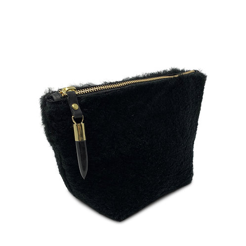 Black Shearling Clutch/Make-Up Bag by Kempton