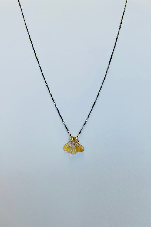 22k Gold Vermeil, Oxidized Silver & Opal Necklace by Robindira Unsworth