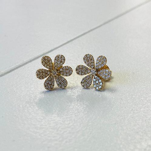 Diamond Pave' Flower Earrings By Sophia By Design