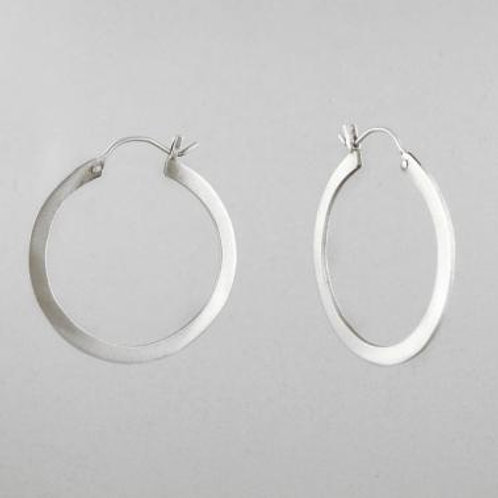 Flat Sterling Silver Medium Hoop by Jane Diaz