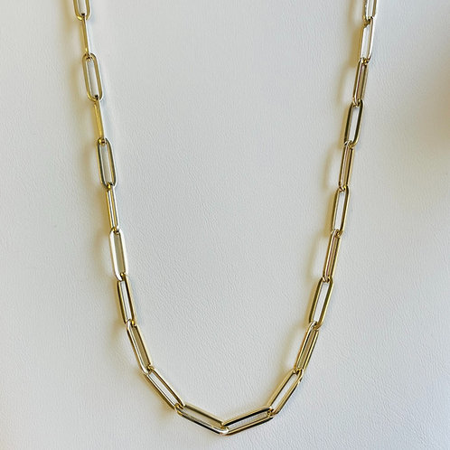 14K Yellow Gold Large Link Paper Clip Chain