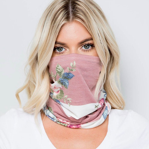 Pink Floral Pull Up Face Mask