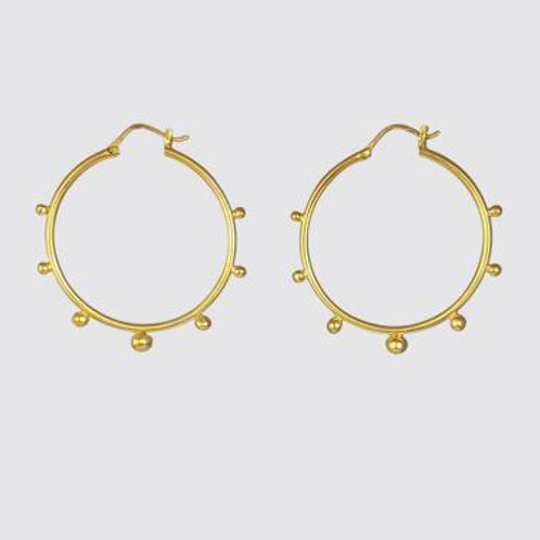 Gold Large Hoop with Graduated Granulated Balls