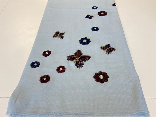 Light Blue Butterfly & Flower Wrap by Janavi