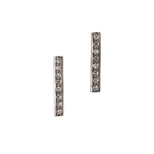 Eight-Stone Pave Diamond Bar Stud Earrings by Original Hardware