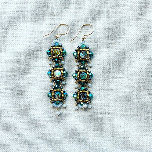 Abalone Swarovski Crystal Earrings by Miguel Ases