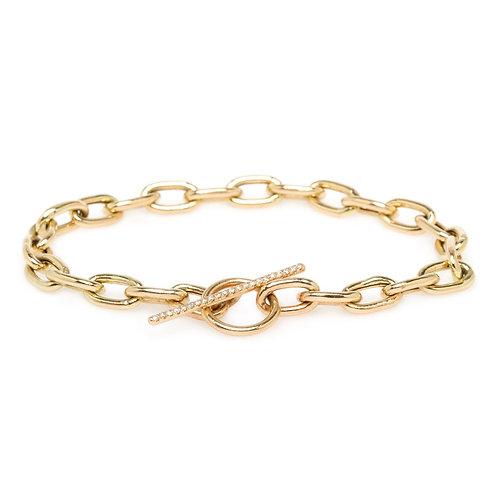 Extra Large Oval Link Pave Diamond Toggle Bracelet by Zoe Chicco