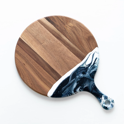 Round Acacia Resin Cheeseboard in Navy/White/Metallic
