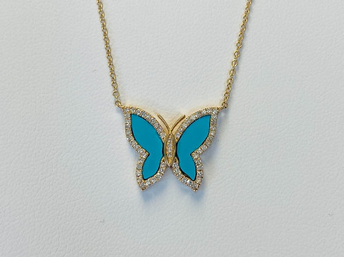 Diamond Turquoise Butterfly Pendant