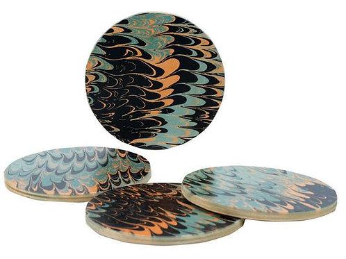 Seafoam Marble Coasters, Set of Four