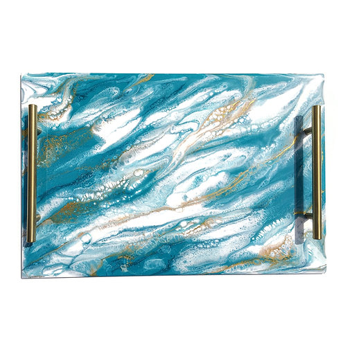 Resin Serving Trays with Handles in Teal/White/Gold