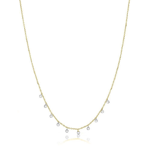 Yellow Gold Necklace with 10 Diamond Bezels by Miera T