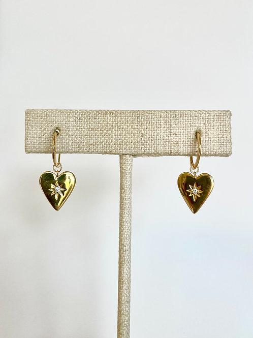 Diamond Heart Hoops by Sophia by Design