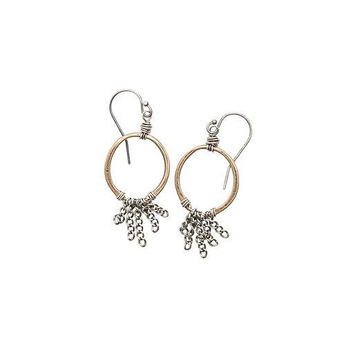 Mixed Metal Chain Horseshoe Earrings by Original Hardware