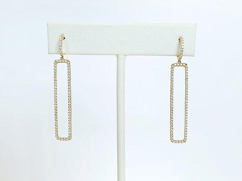 14k Yellow Gold Diamond Rectangle Earrings by Sophia by Design