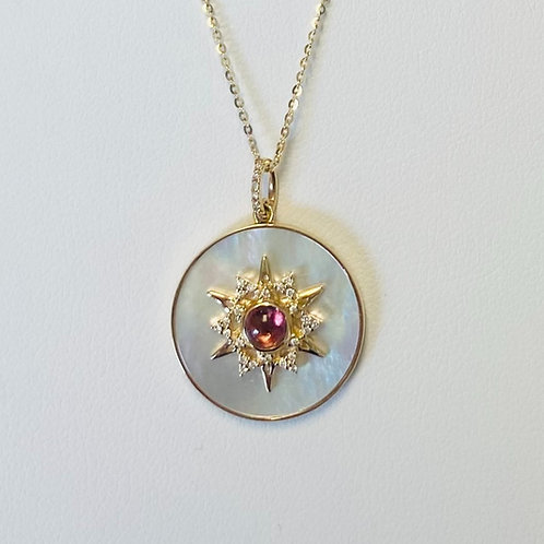 Mother of Pearl, Diamond and Pink Tourmaline Pendant