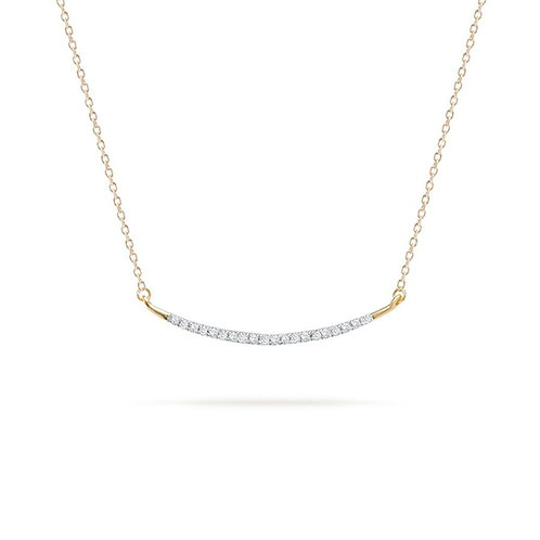 Large Pave' Curve Pendant Necklace in Yellow Gold by Adina Reyter