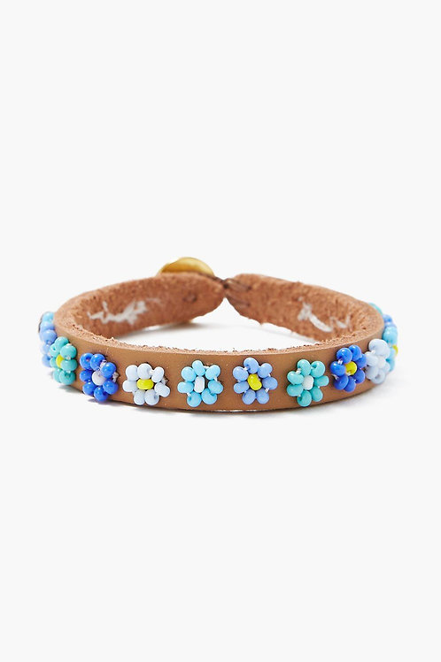 Blue Flower Beaded Bracelet by Chan Luu