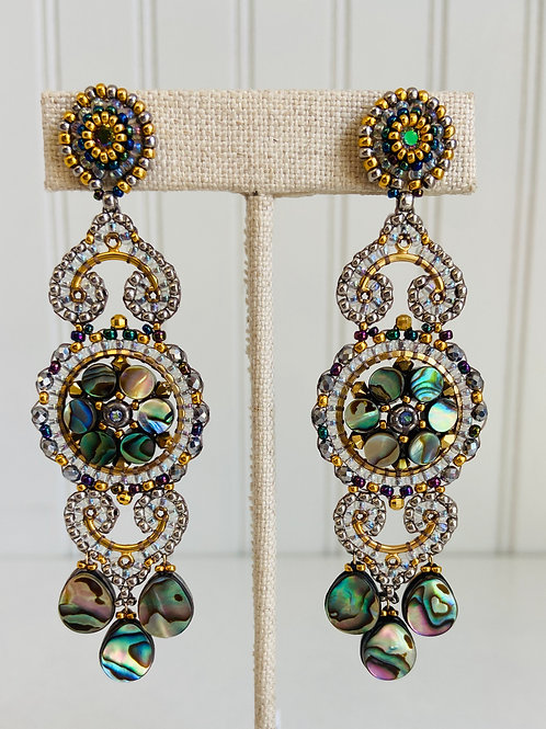 Multi-tier Hand-beaded Earrings by Miguel Ases