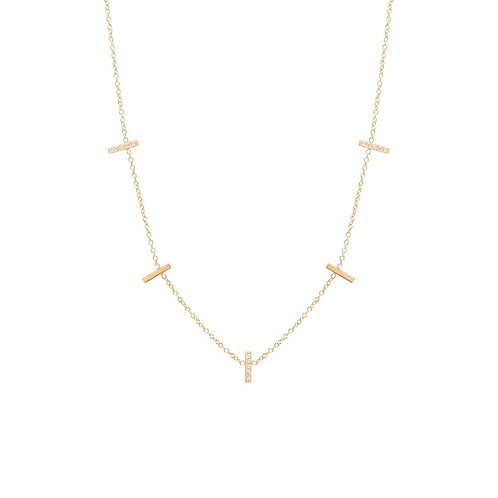 14k 5 Pave Diamond Vertical Tiny Bars Station Necklace by Zoe Chicco