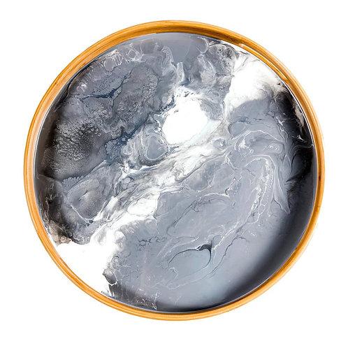 "Grey & White 16"" Round Tray"