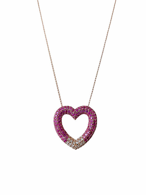 14k Rose Gold Diamond/Sapphire Heart Necklace by Sophia by Design