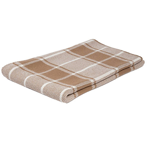 Eco Bold Plaid Poncho in Camel