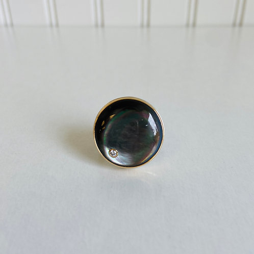 Black Mother of Pearl Ring by Jamie Joseph