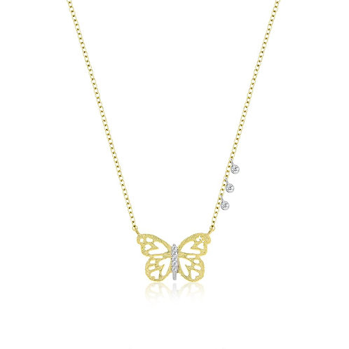 Gold & Diamond Butterfly Necklace by Miera T