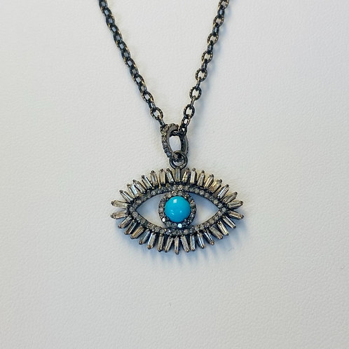 Diamond Turquoise Evil Eye Necklace